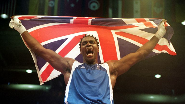 Audley Harrison celebrates after winning gold at the Sydney Olympics in 2000
