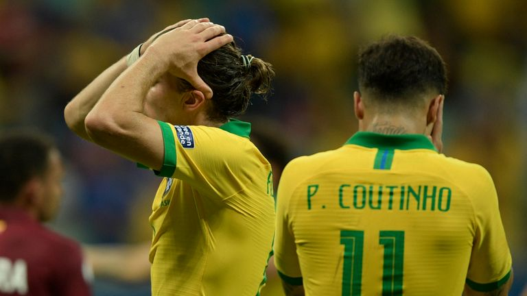 Brazil's players show their frustration during their draw with Venezuela