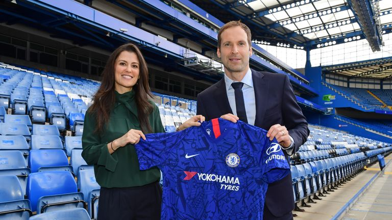 New Chelsea technical and performance advisor Petr Cech poses with director Marina Granovskaia after returning to Stamford Bridge