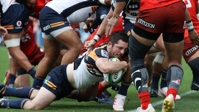 Brumbies hooker Connal McInerney rumbled over for a hat-trick of tries