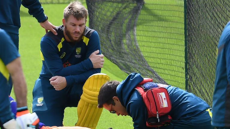 David Warner struck a net bowler on the head during batting practice at The Oval