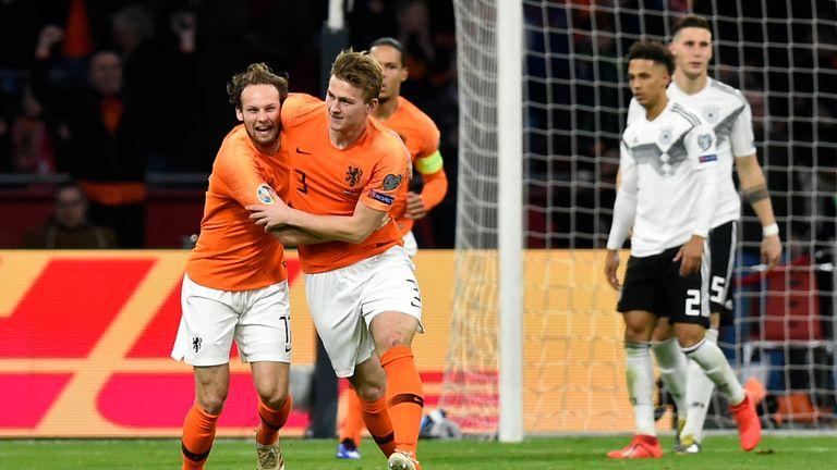 Matthijs De Ligt celebrates his goal against Germany
