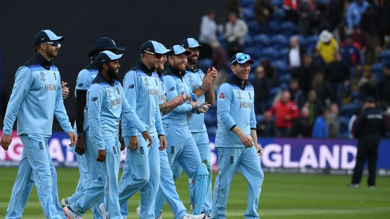 England celebrate their Cricket World Cup victory over Bangladesh as they leave the field at Cardiff