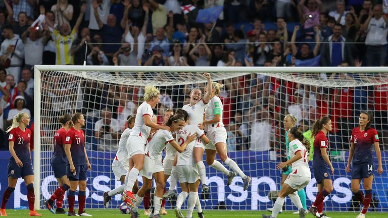 England celebrate scoring against Norway in the Women's World Cup quarter-final