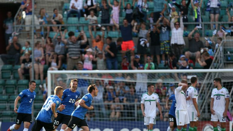 Estonia's Konstantin Vassilijev celebrates scoring his side's first goal of the game