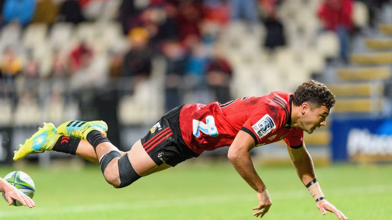David Havili scored twice as the Crusaders notched 10 tries in a 66-0 drubbing of the Rebels