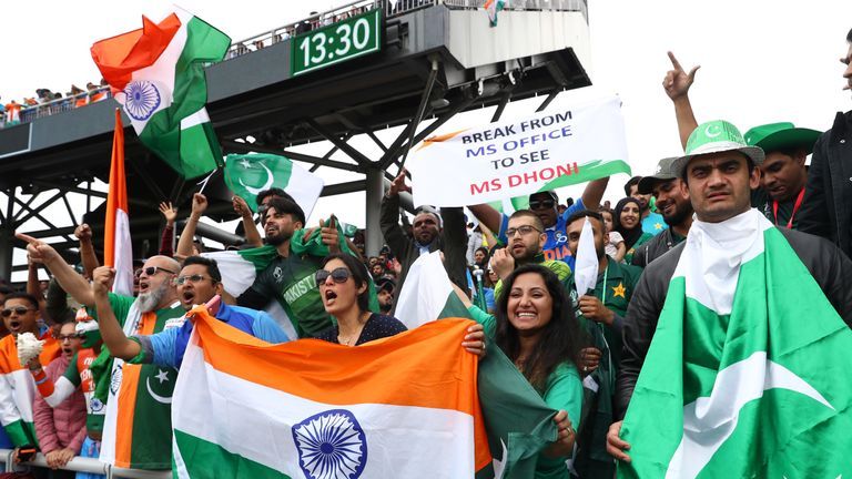 India and Pakistan fans during the Cricket World Cup match at Old Trafford