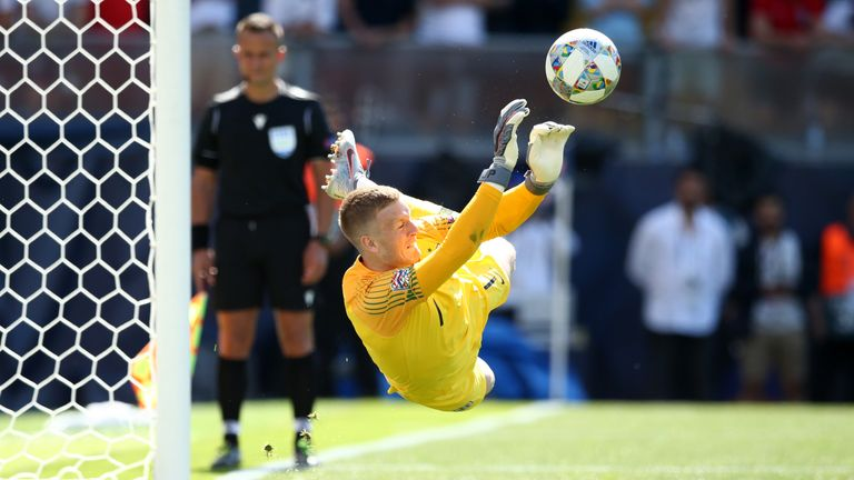 Pickford saved Josip Drmic's spot-kick to secure third place in the Nations League for England