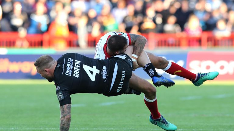 Griffin is tackled by Ben Crooks during the Hull Derby on Thursday
