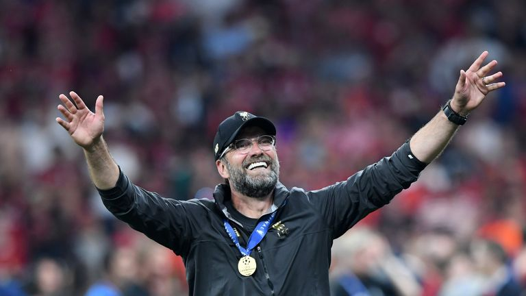 Jurgen Klopp celebrates winning the Champions League with Liverpool after victory over Tottenham