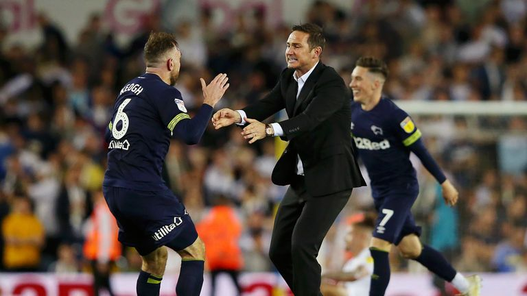 Keogh and Lampard celebrate Derby's play-off semi-final win against Leeds