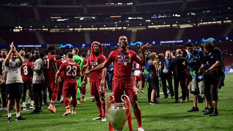 Daniel Sturridge celebrates after Liverpool's Champions League win in June