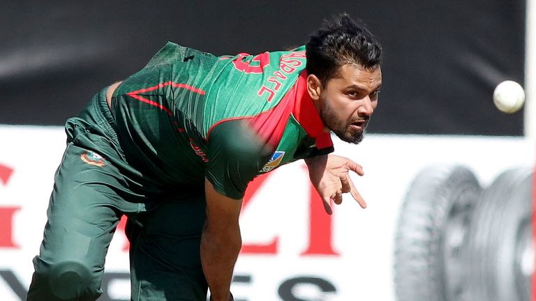 Mashrafe Mortaza strained a hamstring in the sixth over against India