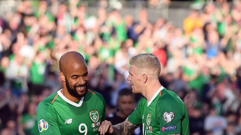 David McGoldrick reluctantly celebrates after his effort deflected in off Joseph Chipolina