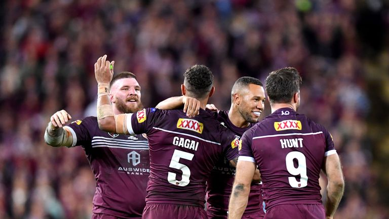 Moses Mbye celebrates victory with Dane Gagai, Josh McGuire and Ben Hunt