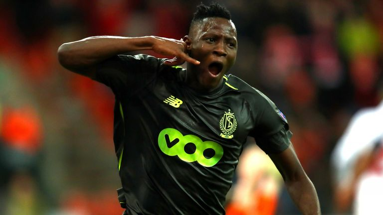 Djenepo celebrates scoring against Sevilla at Stade Maurice Dufrasne during the Europa League group stage in November 2018