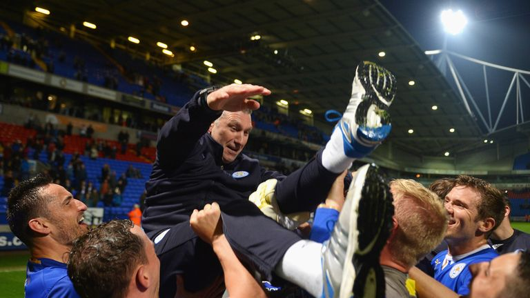 Pearson celebrates winning promotion from the Championship with Leicester