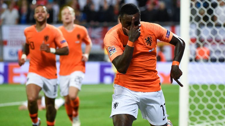 Quincy Promes celebrates as Netherlands came from behind to win