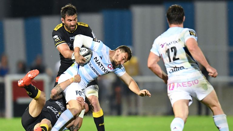 La Rochelle (black) saw off Racing 92 in the Top 14 play-offs
