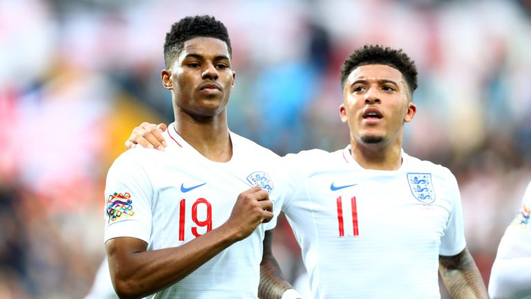 Rashford (left) has scored nine goals in his last 10 games for club and country