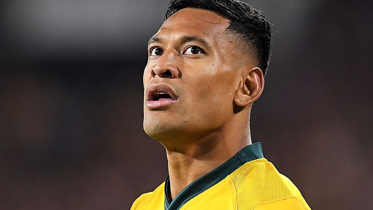 Israel Folau played 73 Tests for Australia before his contract was terminated for comments made on social media