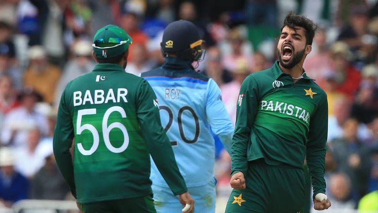 Pakistan's Shadab Khan celebrates the wicket of England's Jason Roy