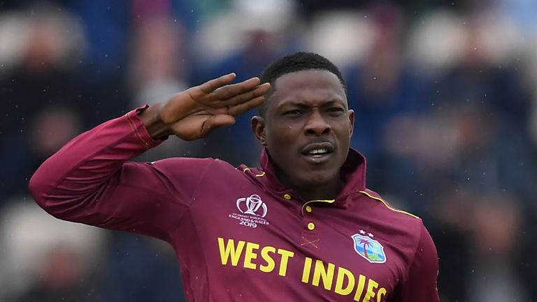 Sheldon Cottrell took both South Africa wickets - Hashim Amla and Aiden Markram