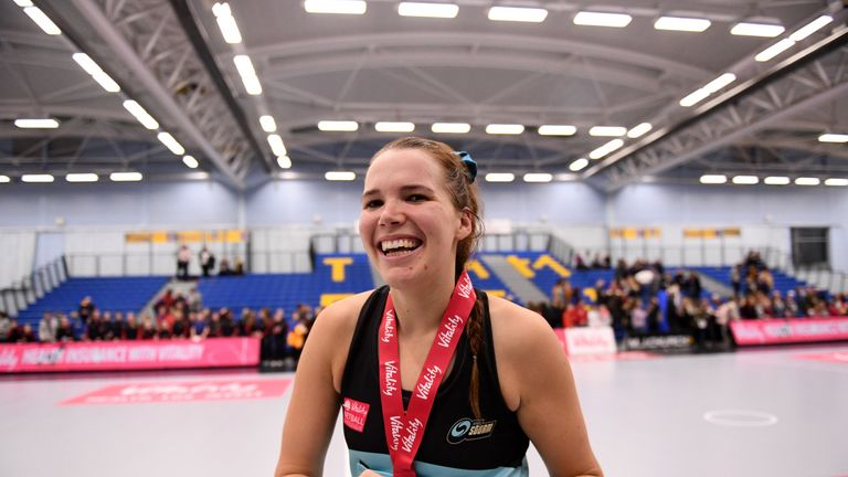 Sigi Burger of Surrey Storm celebrates being awarded Player of the Match against Team Bath