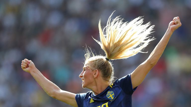 Sofia Jakobsson's strike helped Sweden into their fourth World Cup semi-finals