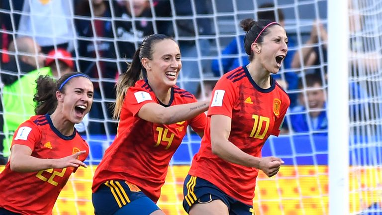 Jennifer Hermoso (right) celebrates after scoring for Spain
