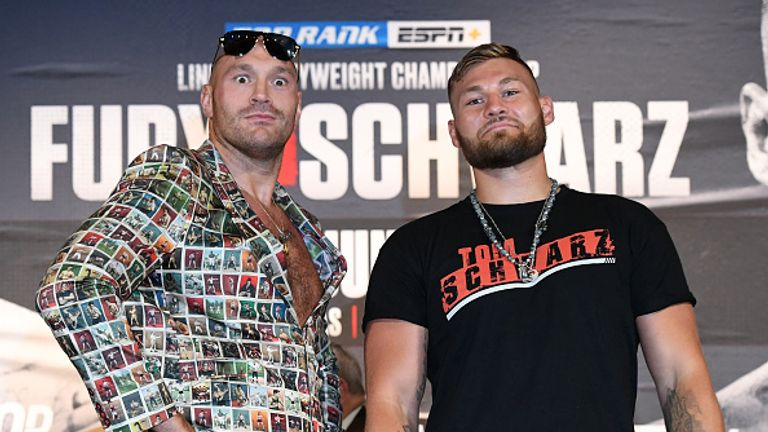 Tyson Fury over a stone heavier than underdog Tom Schwarz