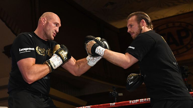 Fury smashed the pads with trainer Ben Davison on Tuesday