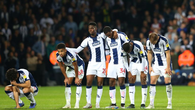 West Brom's players after losing on penalties to Aston Villa in the Championship play-off semi-final last season