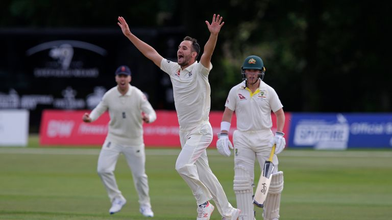 Lewis Gregory celebrates a wicket for England Lions against Australia A