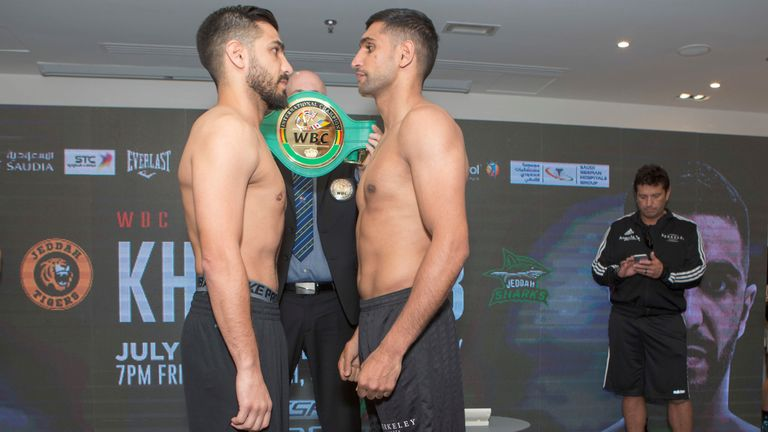 Amir Khan prepared for fight in Saudi Arabia after weigh-in with Billy Dib