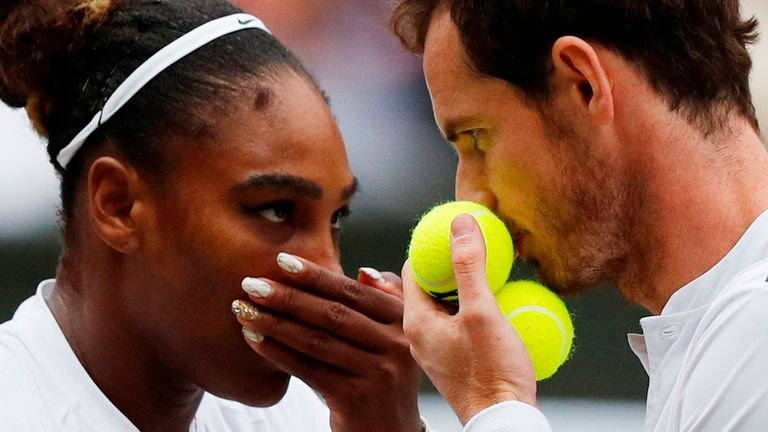 Serena Williams and Andy Murray (right) saw their mixed doubles hopes ended on Wednesday