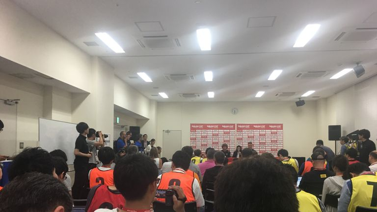 A packed press room at the Machida Municipal Athletics Stadium attended Antoine Griezmann's first conference as a Barcelona player