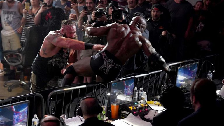 Braun Strowman and Bobby Lashley were involved in a brutal Falls Count Anywhere match