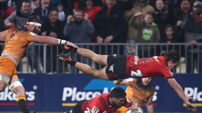Codie Taylor scores the first try for the Crusaders