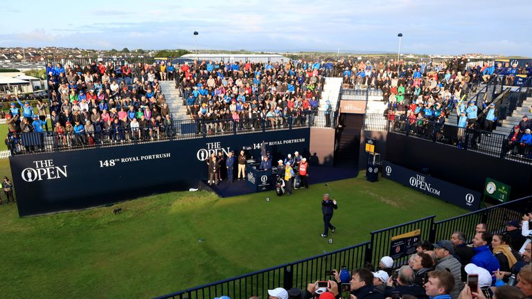 Clarke hits the first tee shot at Royal Portrush on Thursday