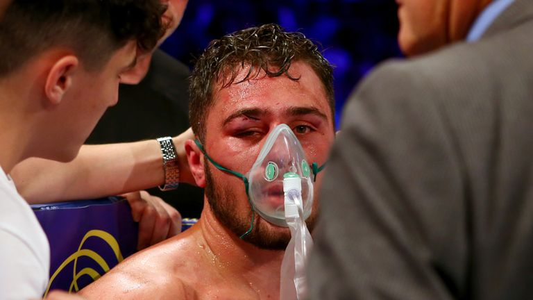 Allen receives oxygen after being pulled out after 10 rounds