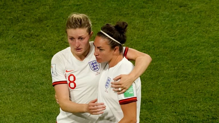Ellen White and Jodie Taylor were distraught after their World Cup defeat