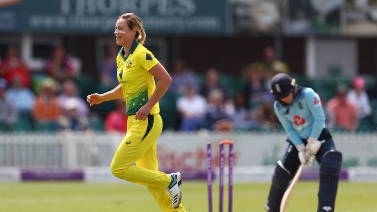 Ellyse Perry took 5-12 in 28 legal deliveries in her first spell against England in Canterbury