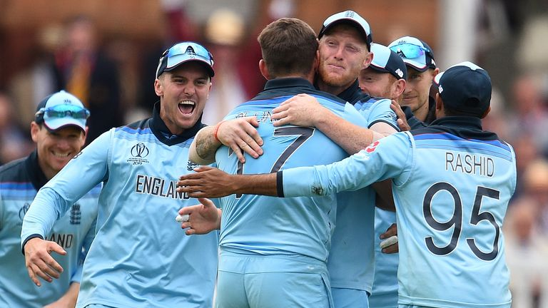 England celebrate their nerve-jangling victory over New Zealand in the Cricket World Cup
