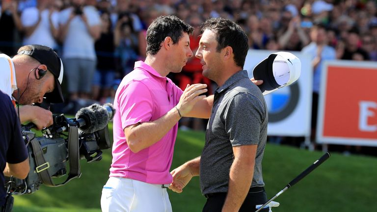 McIlroy congratulates Francesco Molinari on his win