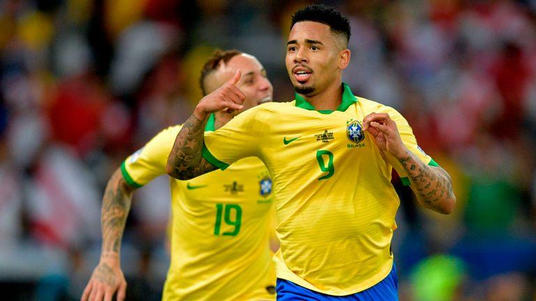 Gabriel Jesus celebrates Brazil's second against Peru