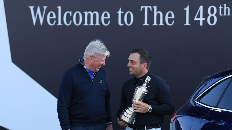 Reigning champion Francesco Molinari returned the Claret Jug to Martin Slumbers, chief executive of the R&A, on Monday