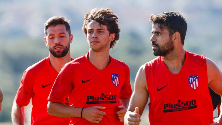 Joao Felix trains with his new Atletico Madrid team-mates