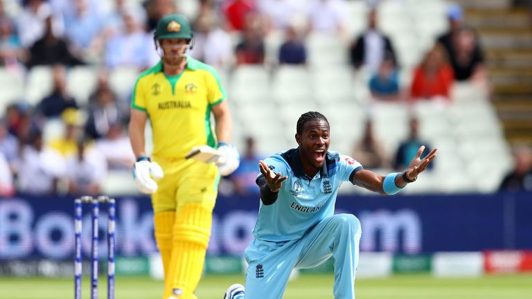 Jofra Archer celebrates an early wicket as England beat Australia in Thursday's Cricket World Cup semi-final at Edgbaston