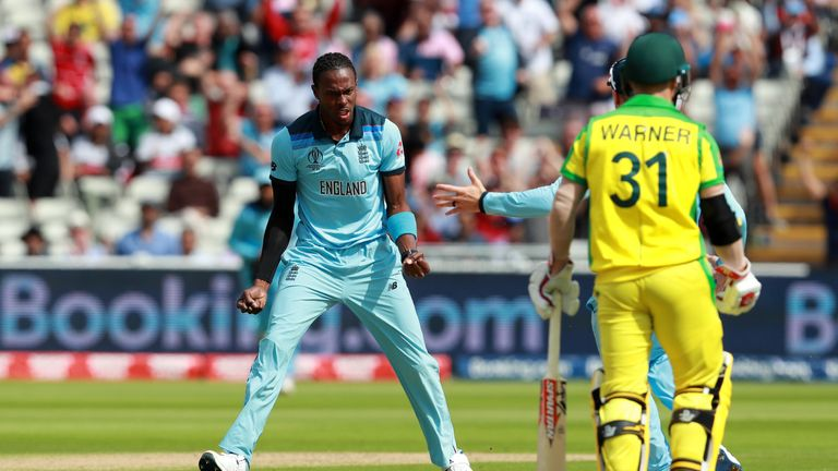 Jofra Archer celebrates after taking the wicket of Aaron Finch at Edgbaston